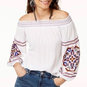 INC embroidered off the shoulder white blouse